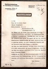 Memo from the Reich Ministry for Public Enlightenment and Propaganda to the Haus der Deutschen Kunst, February 5, 1945 © Haus der Kunst, Historisches Archiv, HdDK 50