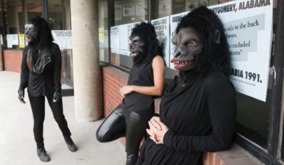 Guerrilla Girls at Abrons Art Center exhibition, New York, 2015. Photo by Andrew Hindraker