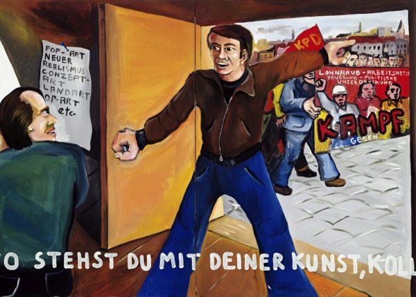 Jörg Immendorff, Wo stehst du mit deiner Kunst, Kollege? 1973, Acryl auf Leinwand, 2-teilig, 130 x 210 cm © Estate of Jörg Immendorff, Courtesy Galerie Michael Werner Märkisch Wilmersdorf, Köln & New York