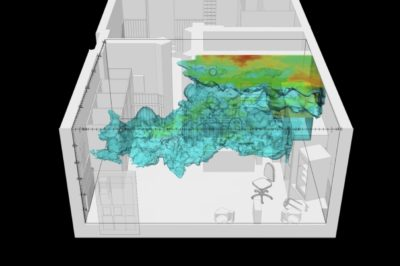77sqm_9:26min_4: Fluid dynamics simulation of gunpowder residue particles (ammonia) within the front room of the internet cafe. Image: Forensic Architecture and Dr. Salvador Navarro-Martinez, 2017