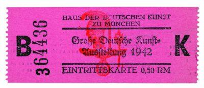 """Eintrittskarte für die """"Große Deutsche Kunstausstellung"""" 1942 ©Haus der Kunst, Historisches Archiv"""