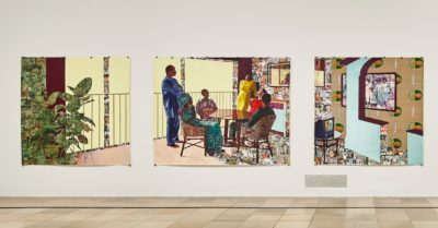 ​Njideka Akunyili Crosby, Bush Girl, I see you in my eyes, I still face you, 2015, Photo: Connolly Weber Photography