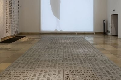 Nada Debs, Concrete Poetry on Concrete Carpet, 2010, Courtesy of the artist; Milia Maroun, Letter Dresses, 2010, Courtesy of the artist, installation view The Future of Tradition – The Tradition of the Future, Haus der Kunst, 2010, photo Wilfried Petzi