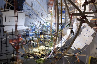 Sarah Sze, 360 (Portable Planetarium), 2010 Installation view at Tanya Bonakdar Gallery, 2010 Courtesy Tanya Bonakdar Gallery and Victoria Miro Gallery Photo: Tom Powel © Sarah Sze