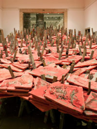 Phyllida Barlow, Untitled (double stage), 2011, courtesy the artist and Hauser & Wirth, Sculptural Acts, installation view, Haus der Kunst, 2011, photo Wilfried Petzi