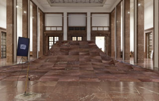 Laure Prouvost DER ÖFFENTLICHKEIT - Von den Freunden Haus der Kunst: We would be floating away from the dirty past. Installation view Haus der Kunst, 2015. Photo: Wilfried Petzi