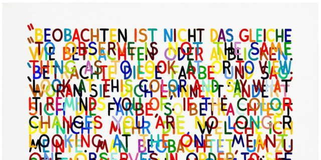 Mel Bochner: If The Color Changes (#4), 1998 Oil and acrylic on canvas 91.4 x 121.9 cm Collection Lizbeth Marano © Mel Bochner