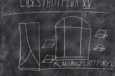 "Jörg Immendorff ""Die Lidlstadt nimmt Gestalt an"", 1968, chalk on wood, 70 x 90 cm © Estate of Jörg Immendorff, Courtesy Galerie Michael Werner Märkisch Wilmersdorf, Köln & New York"