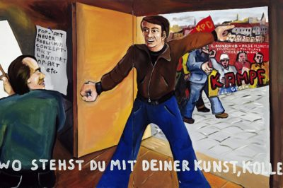 "Jörg Immendorff ""Wo stehst du mit deiner Kunst, Kollege?"", 1973, acrylic on canvas, 2-piece, 130 x 210 cm © Estate of Jörg Immendorff, Courtesy Galerie Michael Werner Märkisch Wilmersdorf, Köln & New York"