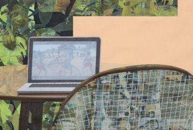 Njideka Akunyili Crosby, Garden Thriving, 2016, detail. Exhibition view, Interiorities (2020), Haus der Kunst, Conolly Weber Photography