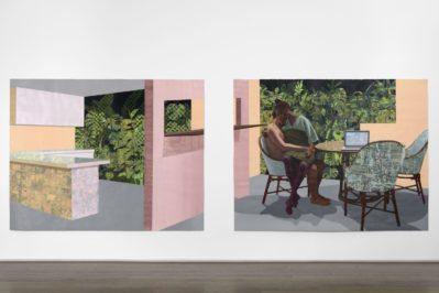 Njideka Akunyili Crosby, Garden Thriving, 2016. Exhibition view, Interiorities (2020), Haus der Kunst, Conolly Weber Photography