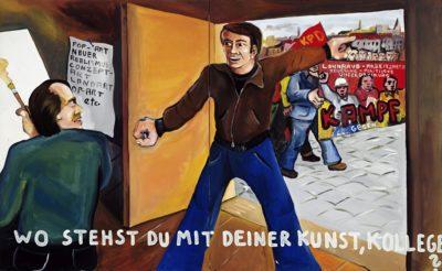 """Jörg Immendorff """"Wo stehst du mit deiner Kunst, Kollege?"""", 1973, acrylic on canvas, 2-piece, 130 x 210 cm © Estate of Jörg Immendorff, Courtesy Galerie Michael Werner Märkisch Wilmersdorf, Köln & New York"""