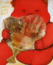 Jörg Immendorff, Für alle Lieben in der Welt, 1966, oil on canvas, 160 x 130 cm Städtische Galerie Karlsruhe © Estate of Jörg Immendorff, Courtesy Galerie Michael Werner Märkisch Wilmersdorf, Köln & New York